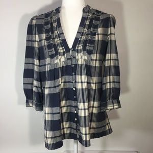 Joie Luciana Plaid Navy & Cream Peasant Blouse Med